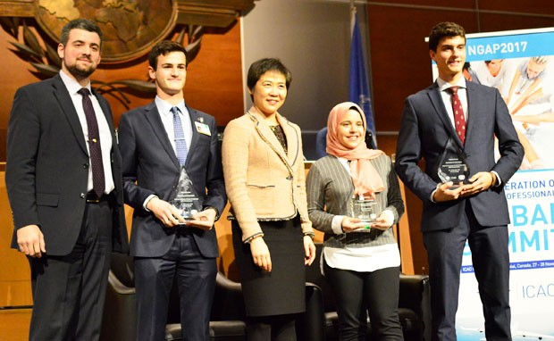 From left: Andrei Bochis, president of Concordia Model UN, Aaron Clark-Ashe Dr. Fang Liu (secretary general of ICAO), Marwa Ahmed and Christopher Fabian.