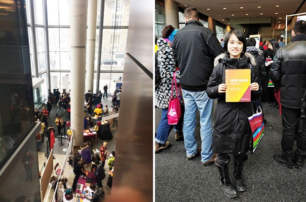 Mid-February weather did not deter the crowds at Open House and Portfolio Day. Future student Wenxing Luo  (right) travelled to Montreal from Zhuhai, China. | Photos by Sarah Buck and Fan Zang