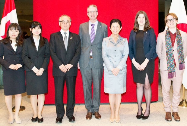 From left: Team members Akane Oura and Yuna Tamamura; Tanaka Yoshiro, executive officer for Global Initiatives at J.F. Oberlin University; the Hon. Ian Burney, Canadian Ambassador to Japan; HIH Princess Takamado; team member Moira Wyton from UBC; and Noah Furlani.