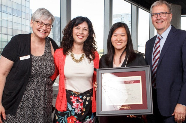 From left: Lisa Ostiguy, Sandra Gabriele, Samie Li Shang Ly, part-time faculty, Department of Supply Chain and Business Technology Management and Alan Shepard.