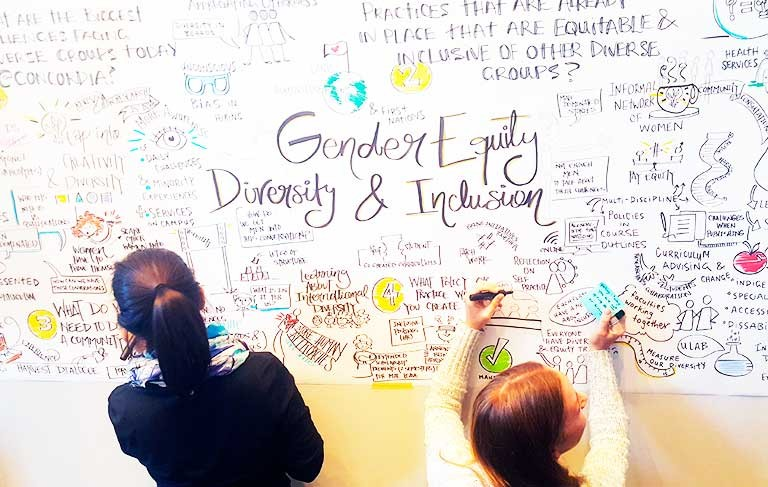 "The first of two Idea Cafés on gender and diversity took place on Loyola Campus and generated ""great policy ideas and tangible recommendations."""