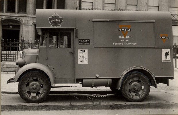 YMCA tea cars boosted morale as well as provided nourishment. | Photo courtesy of Records Management and Archives