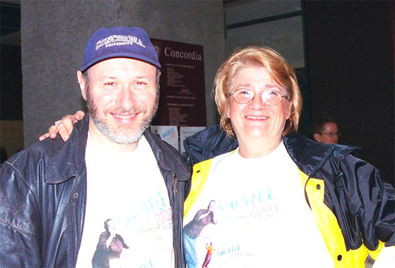 Lise Tavares (at right) with Murray Sang, then director of Continuing Education and chair of the Shuffle committee, at the Shuffle kick-off in 2003.