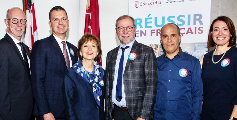 From left: Graham Carr, Interim President and Vice-Chancellor, Concordia; Guy Jobin, Vice-president, services aux entreprises – Chambre de commerce du Montréal métropolitain; Madame Ginette Galarneau, President, OQLF; André Roy, Dean, Faculty of Arts and Science; Adel Jebali, interim chair, Département d'Études françaises; Chanel Bourdon, Coordonnatrice de la promotion et valorisation de la langue française.