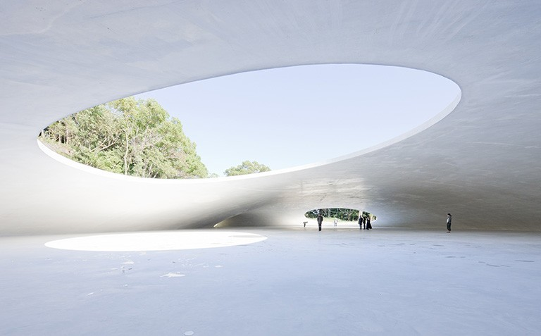 An architectural project by Ryue Nishizawa at the Teshima Art Museum in Japan.