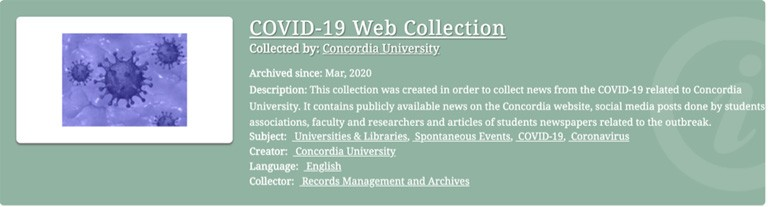 Figure 1: Concordia University COVID-19 Web Collection