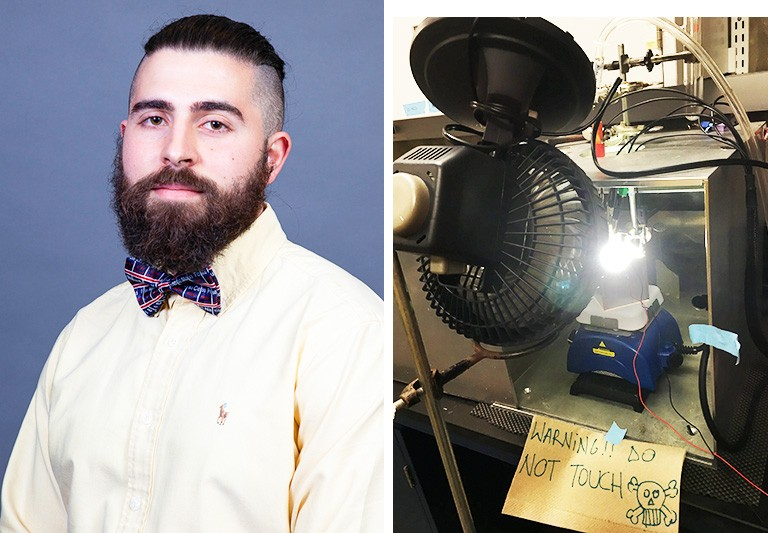 "At left: Young man with a beard, a yellow shirt and a red and blue bow-tie. At left: Apparatus in a lab, including a bright light, a fan, and sign that says ""Warning, do not touch."""