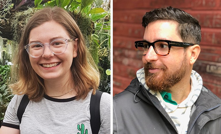 Left: Young woman with long blond hair and glasses. Right: Young man with short brown hair and a beard, wearing glasses.