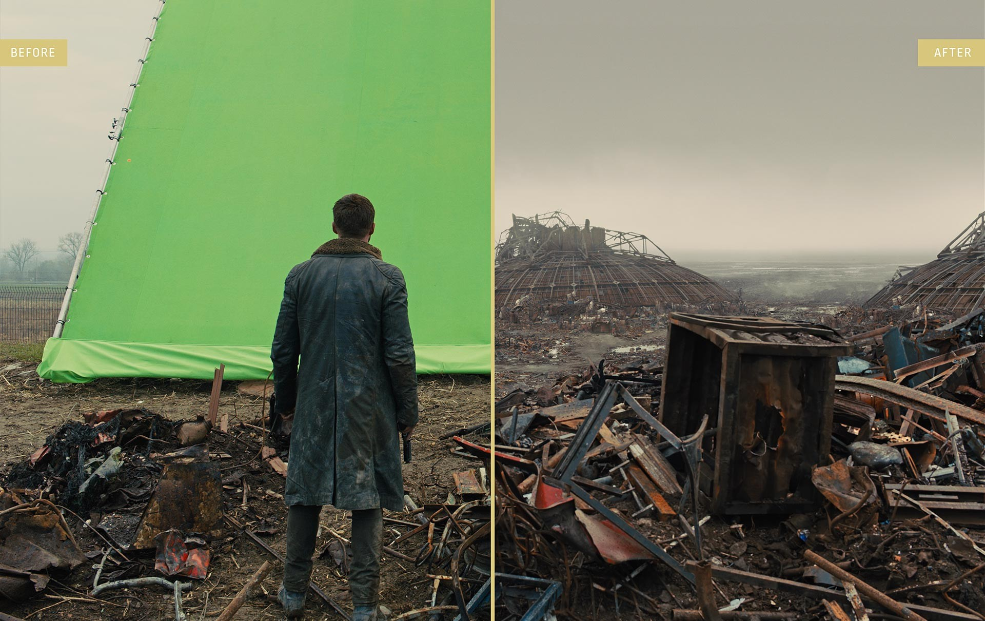 A before and after shot of a scene from Blade Runner 2049