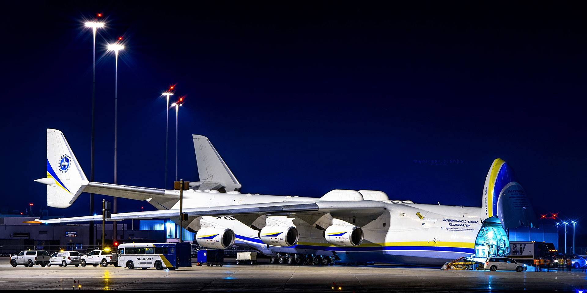 Antonov AN-225, lands at Mirabel with a shipment of PPE