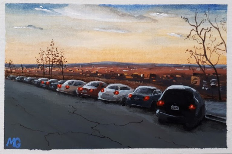 Cars at sunset, by Matthew Gagnon