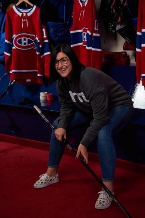 Cynthia Paquin-Lepage, BA 08, the game entertainment manager for the Montreal Canadiens.