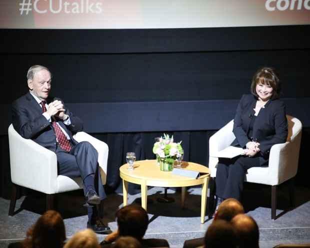 Jean Chrétien's lecture was followed by a Q&A with CTV Montreal News co-anchor Mutsumi, BA 79, MBA 95, LLD 13.
