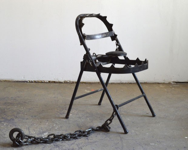 Lasserre included his hybrid chair in Banksy's exhibit.