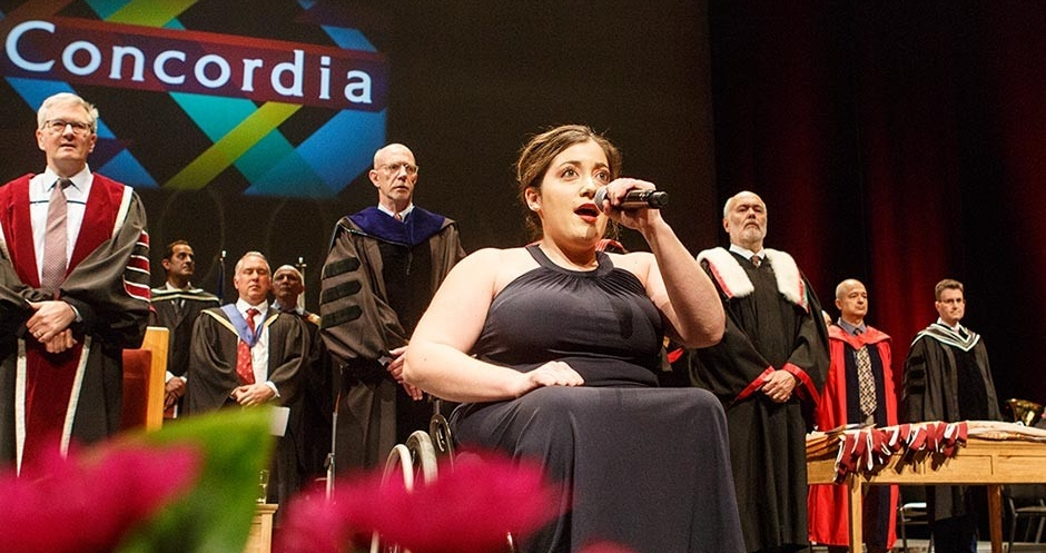 Bartley performs the national anthem at Concordia's convocation