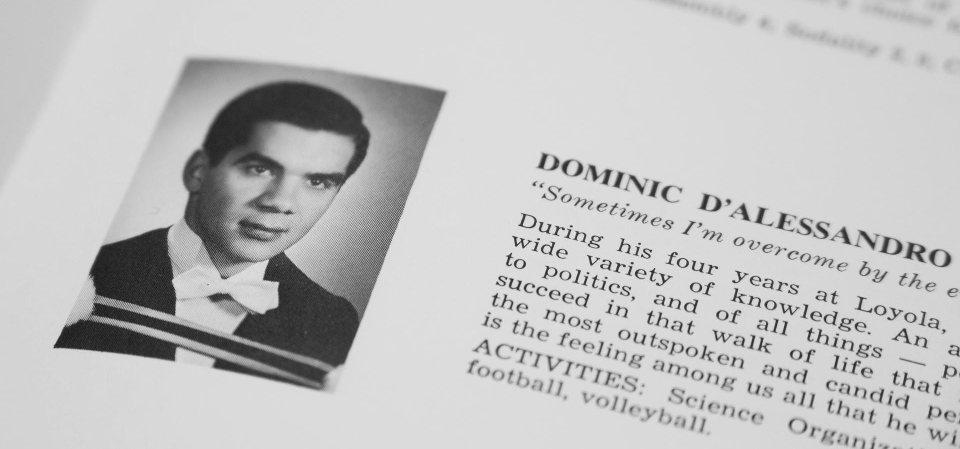 Dominic D'Alessandro's 1967 Loyola College yearbook photo.