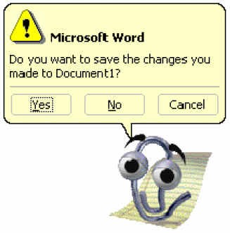 Microsoft Word pop up