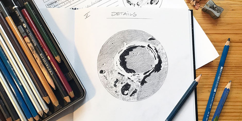 Bettina Forget, 2020, sketch of Archimedes crater, graphite on paper