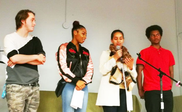 Members of the Press Start Youth Coop at a launch event for their crowdfunding campaign.