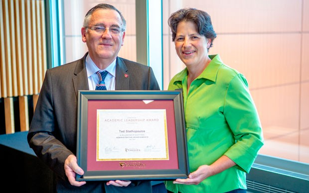Academic Leadership Award winner Ted Stathopoulos with Nadia Hardy, vice-provost of Faculty Relations.