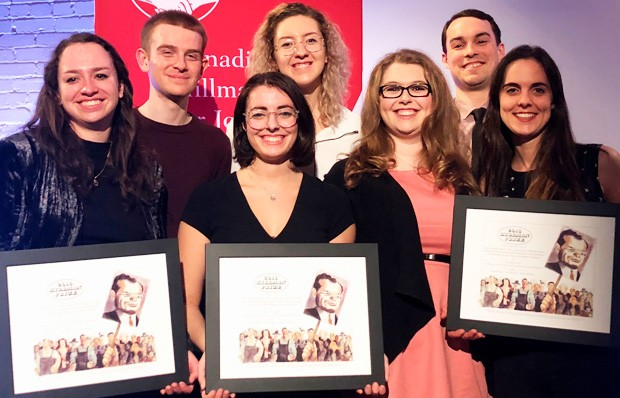 Students from Concordia, University of Toronto and Ryerson accept the Hillman honour. From left: Emma McIntosh (Ryerson), Robert Mackenzie (Ryerson), Kelsey Litwin (Concordia), Morgan Bocknek (Ryerson), Sawyer Bogdan (Ryerson), Matthew Gilmour (Concordia) and Caitlin Taylor (University of Regina).