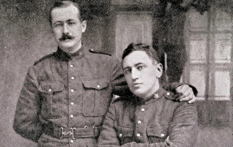 Loyola alumni Capt. Francis Maguire, BA 1907, left, and Lieut. Joseph Power of the 2nd Battalion. Maguire was killed in 1916 while helping a fallen comrade.