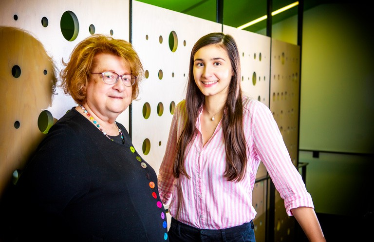 Shoushi Bakarian (right) and her mentor Arpi Hamalian. | Photo by Concordia University