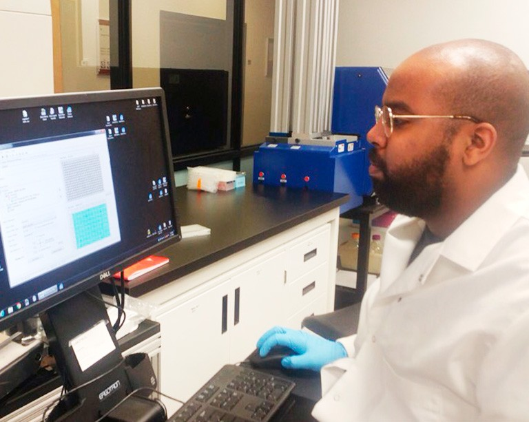 Grad student Jama Hagi-Yusuf is investigating how to convert fatty acids into biofuels