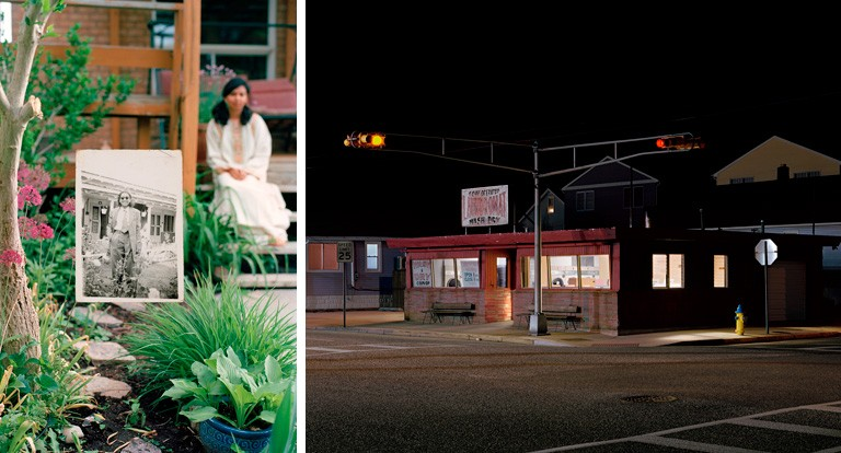Left: Self-portrait in the Garden, 2017 and Nani in the Garden (2), 1948, by Zinnia Naqvi. Right: Laundromat (for Hopper), 2018, by Matthew Brooks.