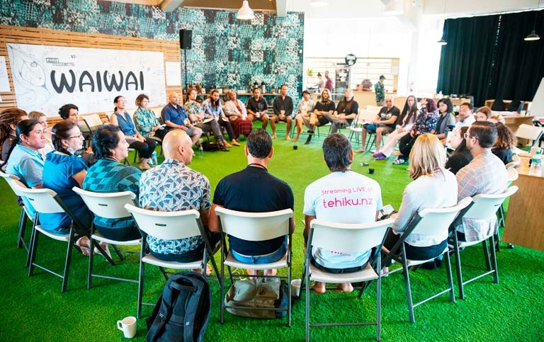 A small group of people gathered in Honolulu to answer two questions: first, what do you think is the intersection between Indigenous thought and AI; and second, what is your interest in AI? | Photos by ʻĀina Paikai. AbTeC © 2019.
