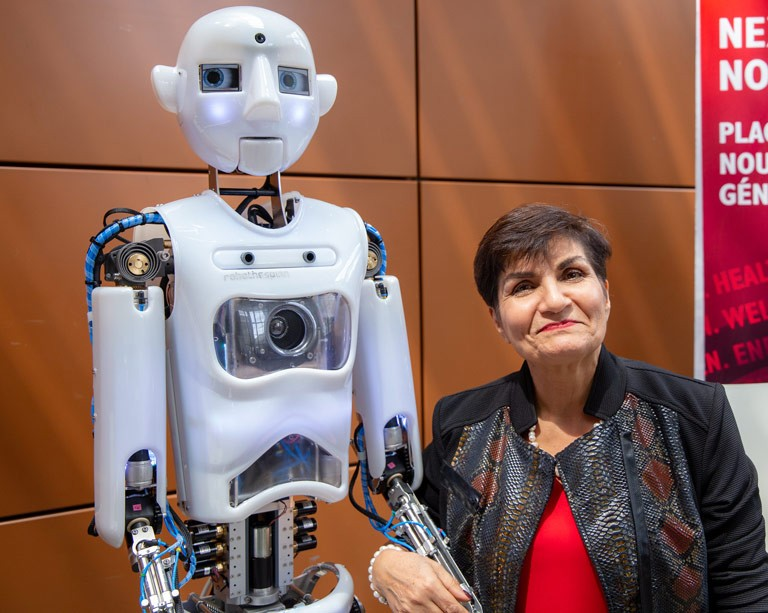 CODE-E meets Gina Cody: robot makes Canadian debut to meet Concordia donor