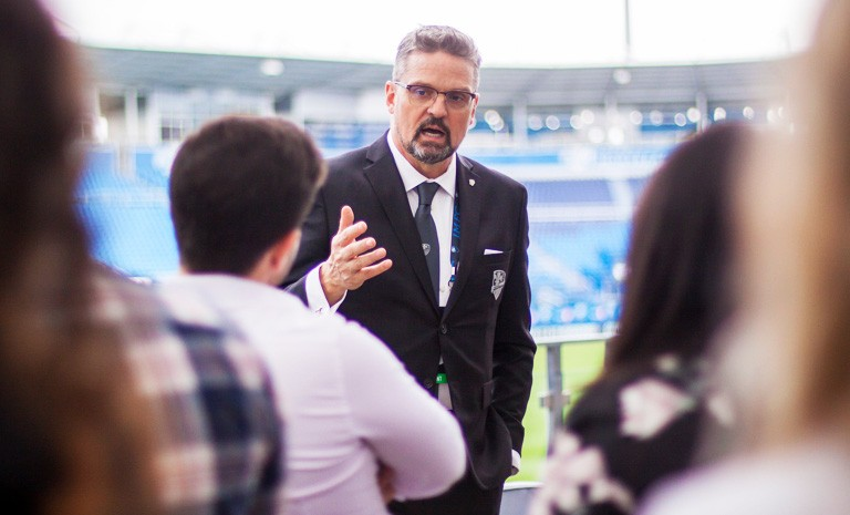 Montreal Impact president Kevin Gilmore discusses professional sports event management with the students.