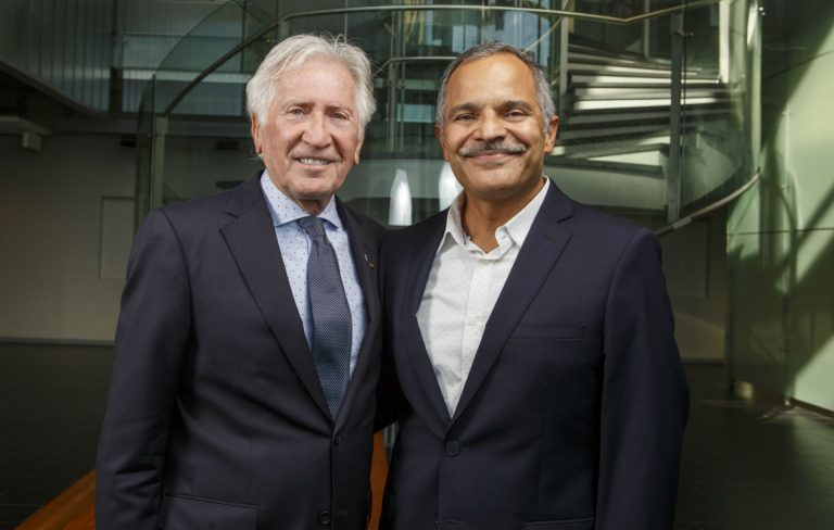 Jurist-in-residence Morton Minc (left) with Amir Asif, dean of the Gina Cody School of Engineering and Computer Science.