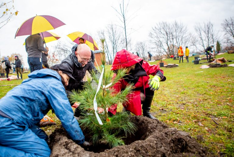 Rebecca Tittler, Graham Carr (Concordia's interim president) and Sue Montgomery (Côte-des-Neiges–Notre-Dame-de-Grâce mayor) joined Concordians at the tree-planting event.