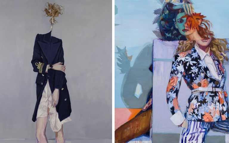 Left: Folding Woman, 2009, by Janet Werner. Private collection.Photo: Paul Litherland |Right: Beast, 2019, by Janet Werner. Collection of the Musée d'art contemporain de Montréal. Photo: Guy L'Heureux