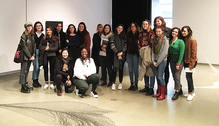 Professor Alice Ming Wai Jim and FOFA Gallery Director Eunice Bélidor (front) with students from ARTH 648 International Art Exhibitions. | Photo by Hanss Lujan