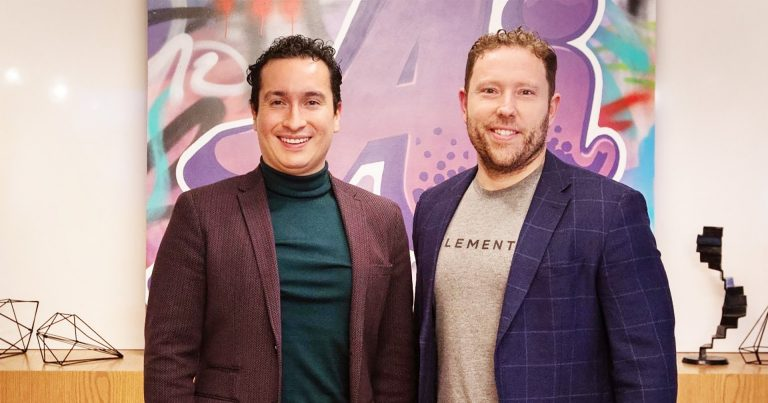 John Molson School of Business student Cristian Pulido (left) with Jean-François Gagné, co-founder and CEO of Element AI.