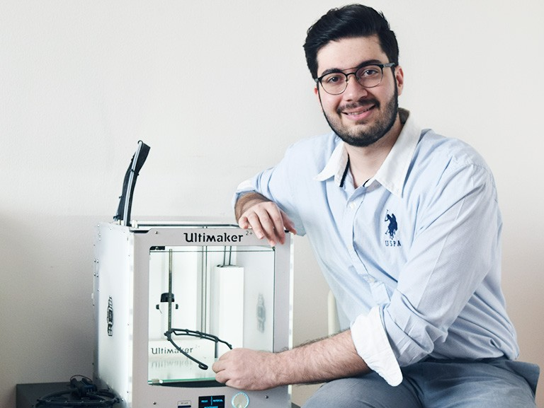 Mohammad Aghili is able to print three or four pieces per day.