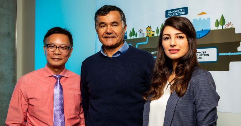 From left: Professors Samuel Li and Fariborz Haghighat, with master's student Niousha Rasi Faghihi.
