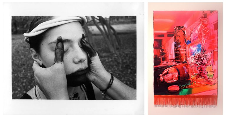 On the left is a photograph of a woman with another woman's hands on her face and eyes, on the right a graphic art piece in mostly red.