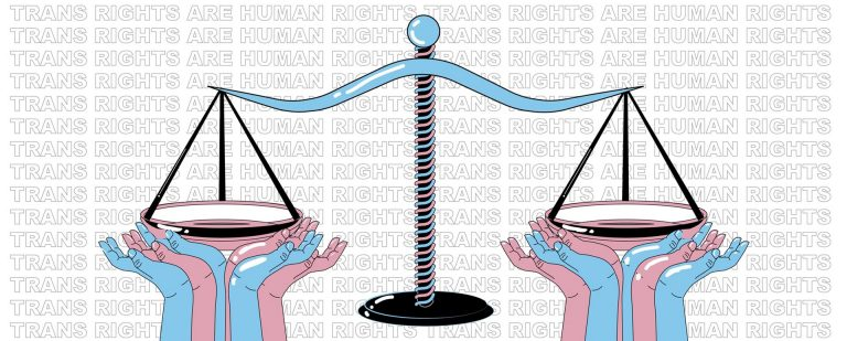 "Graphic image with scale and weights with the words ""Trans rights"" in the background."