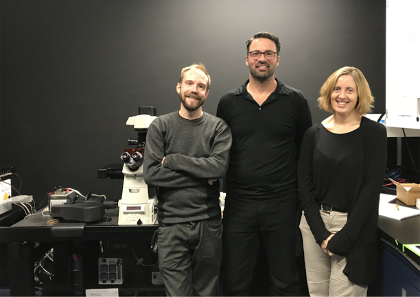 Drs. Law, Brett and Piekny with the Nikon Sweptfield Confocal