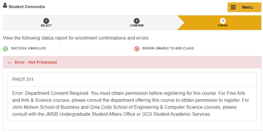 Course registration for example the above message is informing you that departmental consent is required before you can register in this course it would be necessary for you ccuart Choice Image
