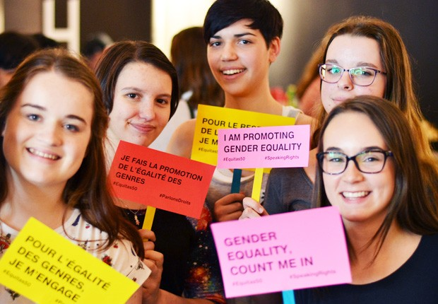 Young Canadians come together to promote gender equality as part of the Speaking Rights Program.| Photo courtesy of Equitas